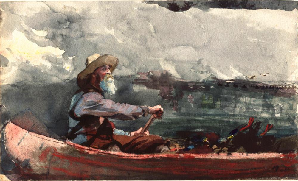Adirondacks Guide, Winslow Homer, Canvas, Winslow Homer