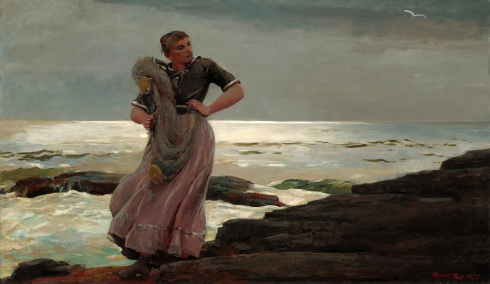 A Light on the Sea, Winslow Homer, Canvas, Winslow Homer