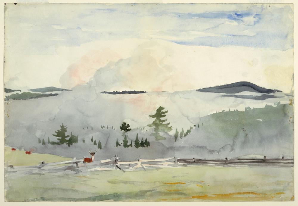 Sabah Puslu Geyik ile Manzara, Winslow Homer, Kanvas Tablo, Winslow Homer, kanvas tablo, canvas print sales