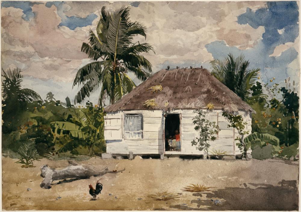 Native Huts, Nassau, Winslow Homer, Canvas, Winslow Homer, kanvas tablo, canvas print sales