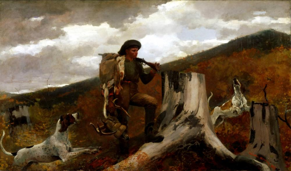 A Huntsman and Dogs, Winslow Homer, Canvas, Winslow Homer