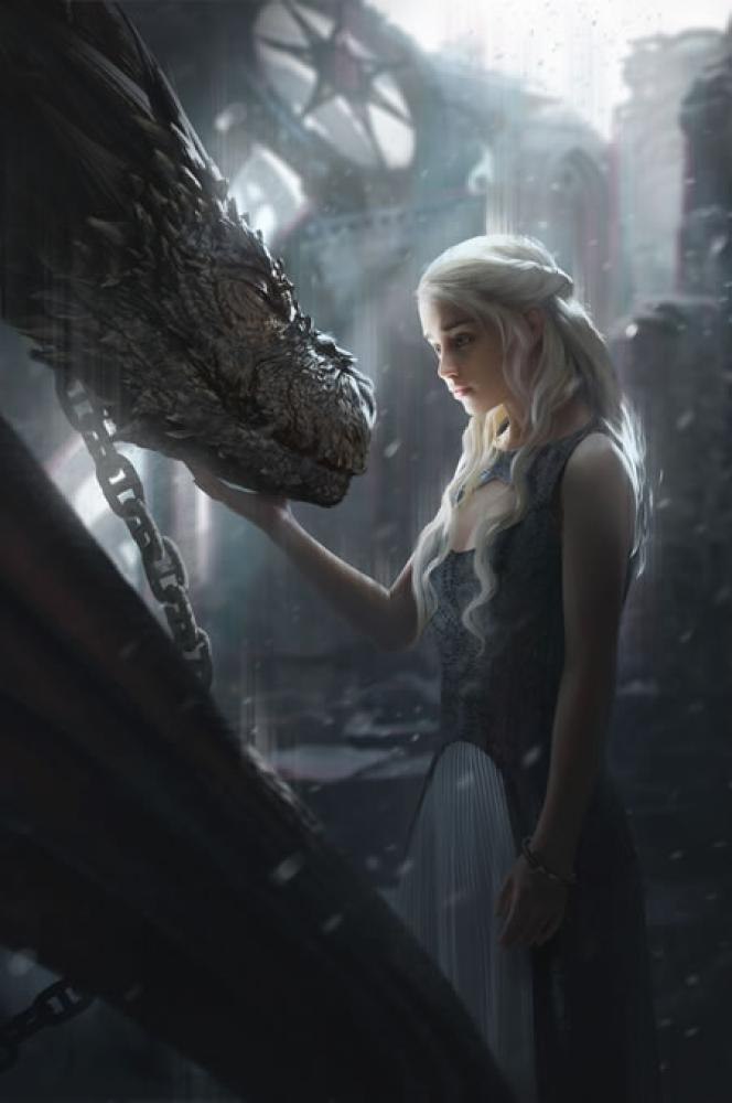Game Of Thrones Khaleesi and Dragon Poster, TV Series, Poster Satış, all posters, kanvas tablo, canvas print sales