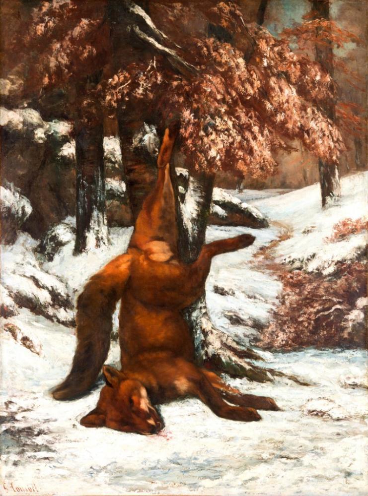 The Dead Fox Gustave Courbet Poster, Animal, Poster Satış, all posters, kanvas tablo, canvas print sales