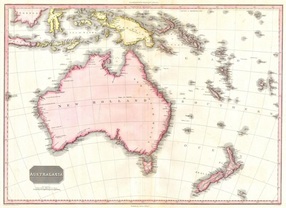 Australia New Zealand Map Poster