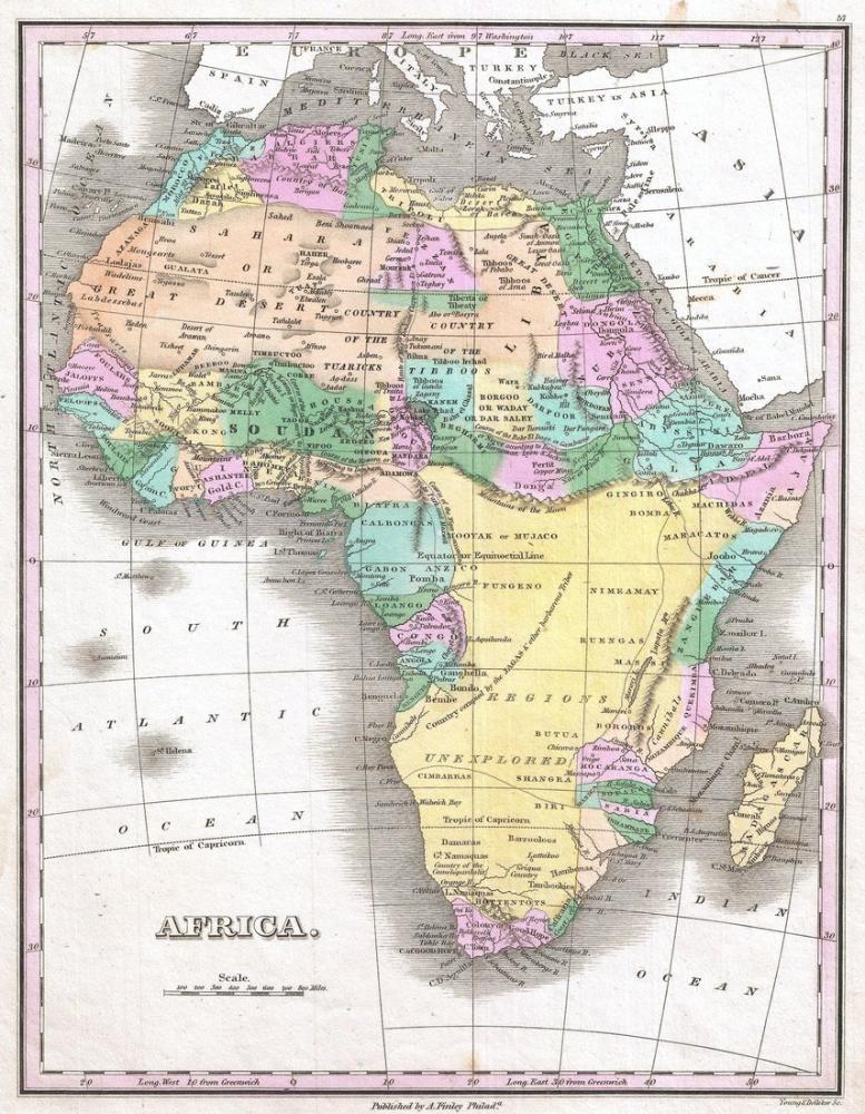 Afrika 1827 Haritası Posteri, Harita, Poster Satış, all posters, kanvas tablo, canvas print sales