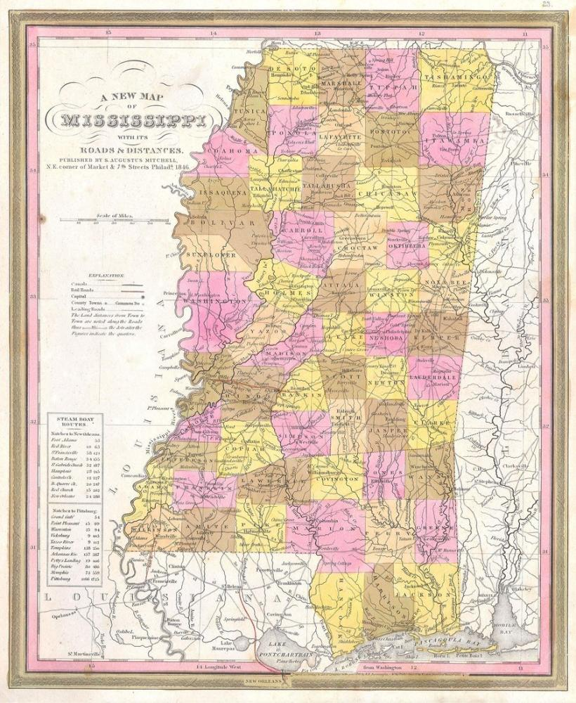 Mississippi 1846 Map Poster, Map Posters, Poster Satış, all posters, kanvas tablo, canvas print sales