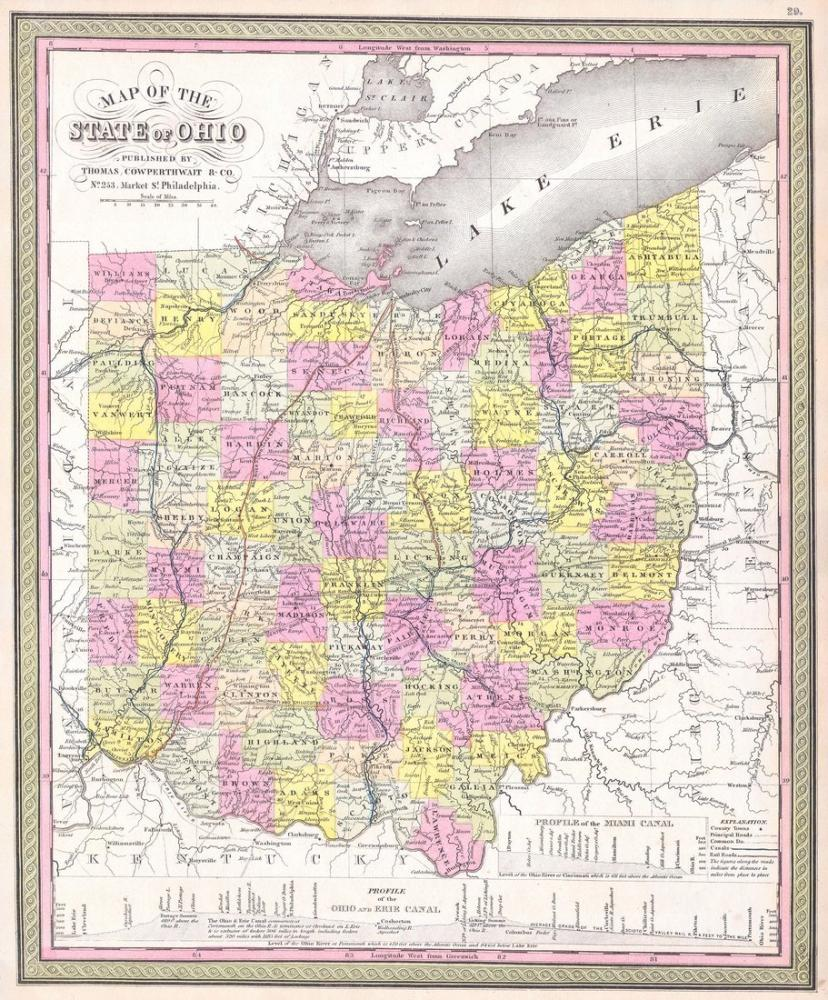 Ohio Map 1850 Poster, Map Posters, Poster Satış, all posters, kanvas tablo, canvas print sales