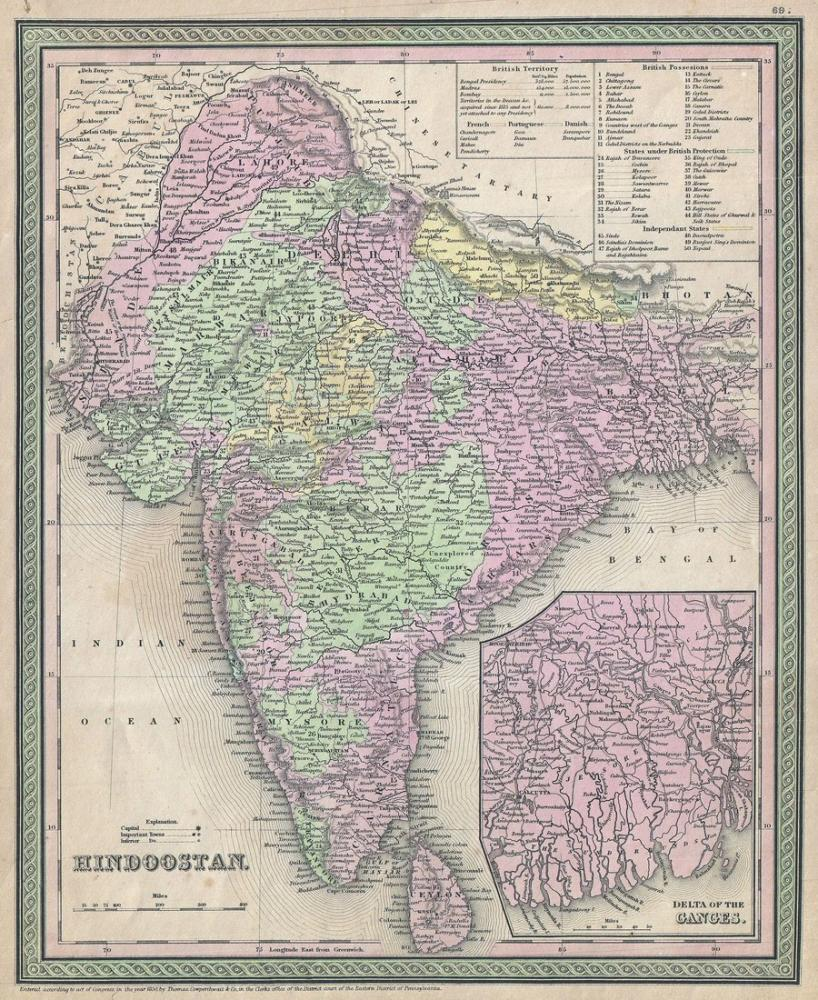 India 1853 Map Poster, Map Posters, Poster Satış, all posters, kanvas tablo, canvas print sales