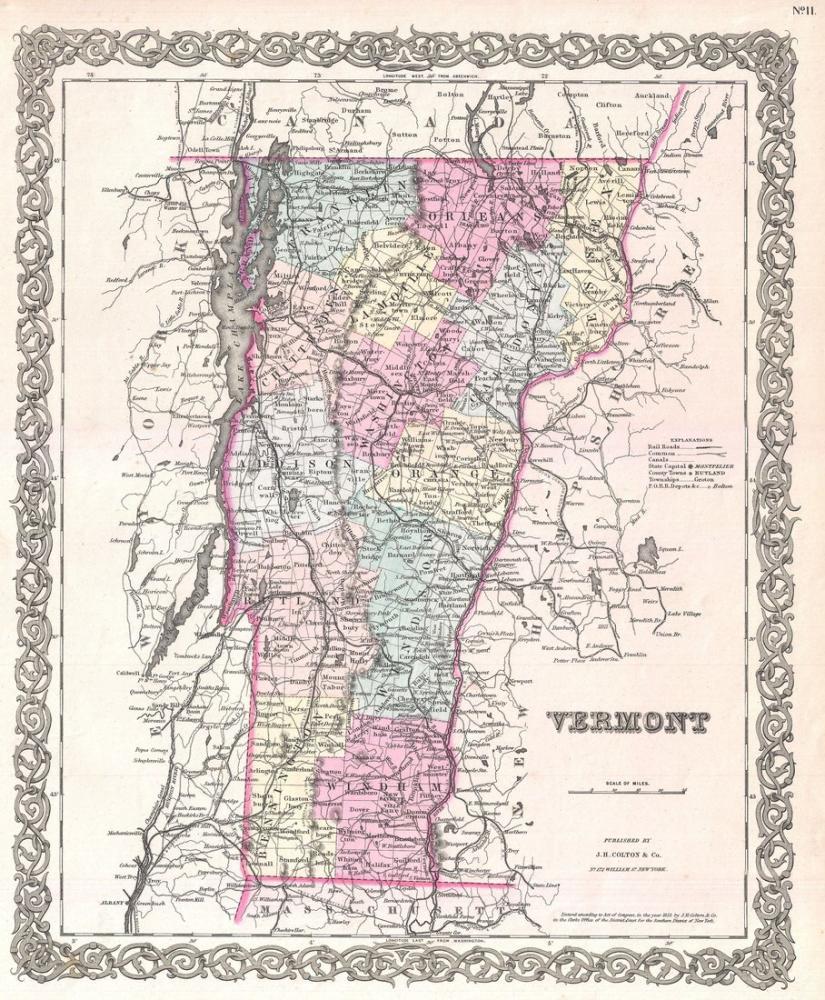 Vermont Map Poster, Map Posters, Poster Satış, all posters, kanvas tablo, canvas print sales