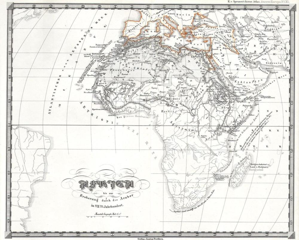 Perthes Map of Africa prior to the Arab Invasions of the 7th Century Geographicus Map Poster, Map Posters, Poster Satış, all posters, kanvas tablo, canvas print sales