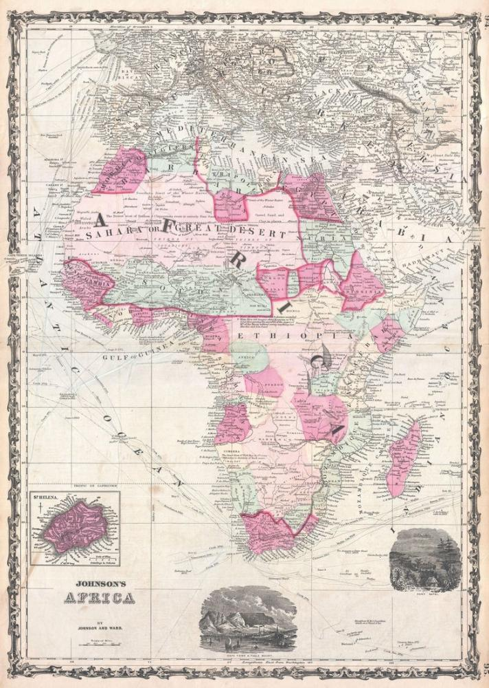 1862 Africa Map Poster, Map Posters, Poster Satış, all posters, kanvas tablo, canvas print sales