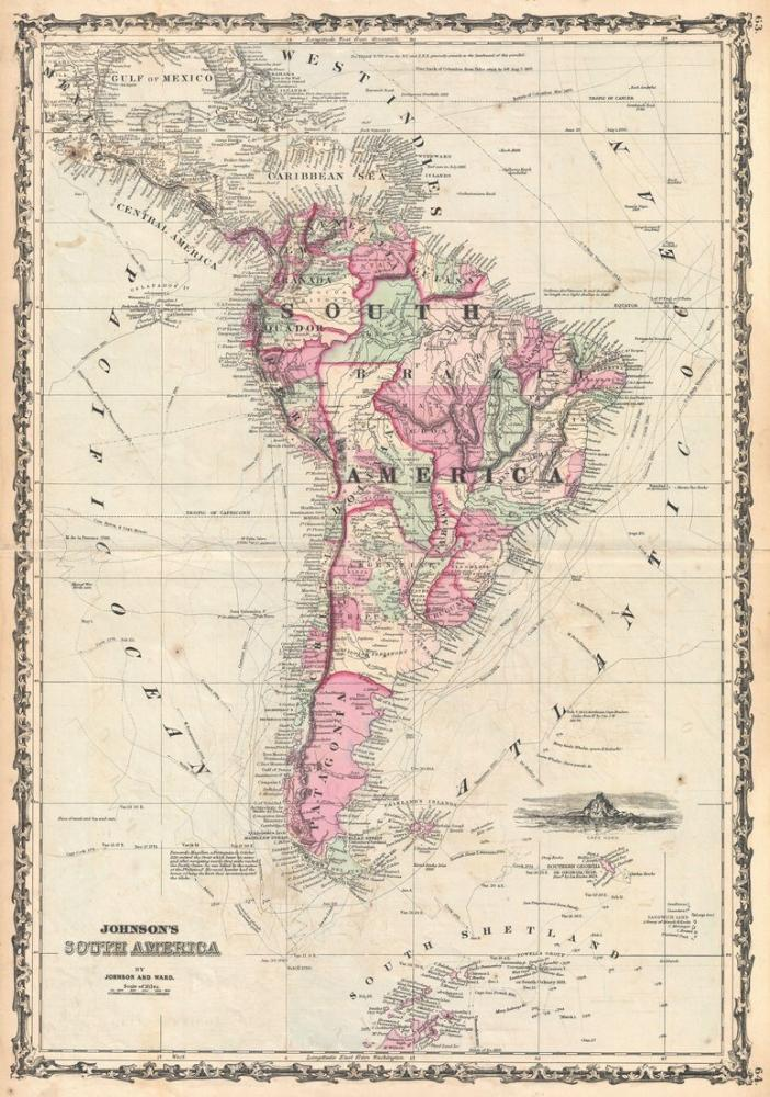 1862 South America Map Poster, Map Posters, Poster Satış, all posters, kanvas tablo, canvas print sales