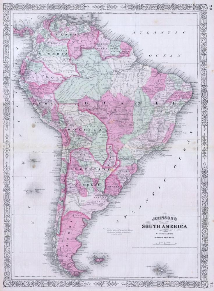 1863 Güney Amerika Haritası Posteri, Harita, Poster Satış, all posters, kanvas tablo, canvas print sales