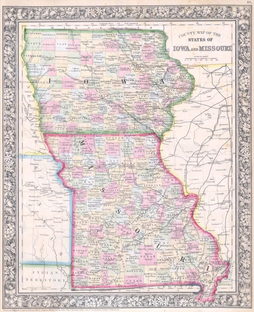 photograph relating to Printable Map of Iowa called Iowa and Missouri Map Poster