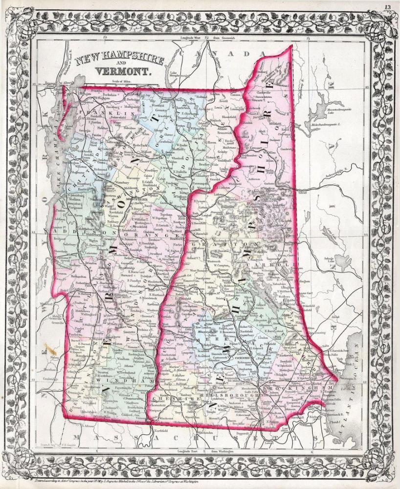 Vermont ve New Hampshire Haritası Posteri, Harita, Poster Satış, all posters, kanvas tablo, canvas print sales