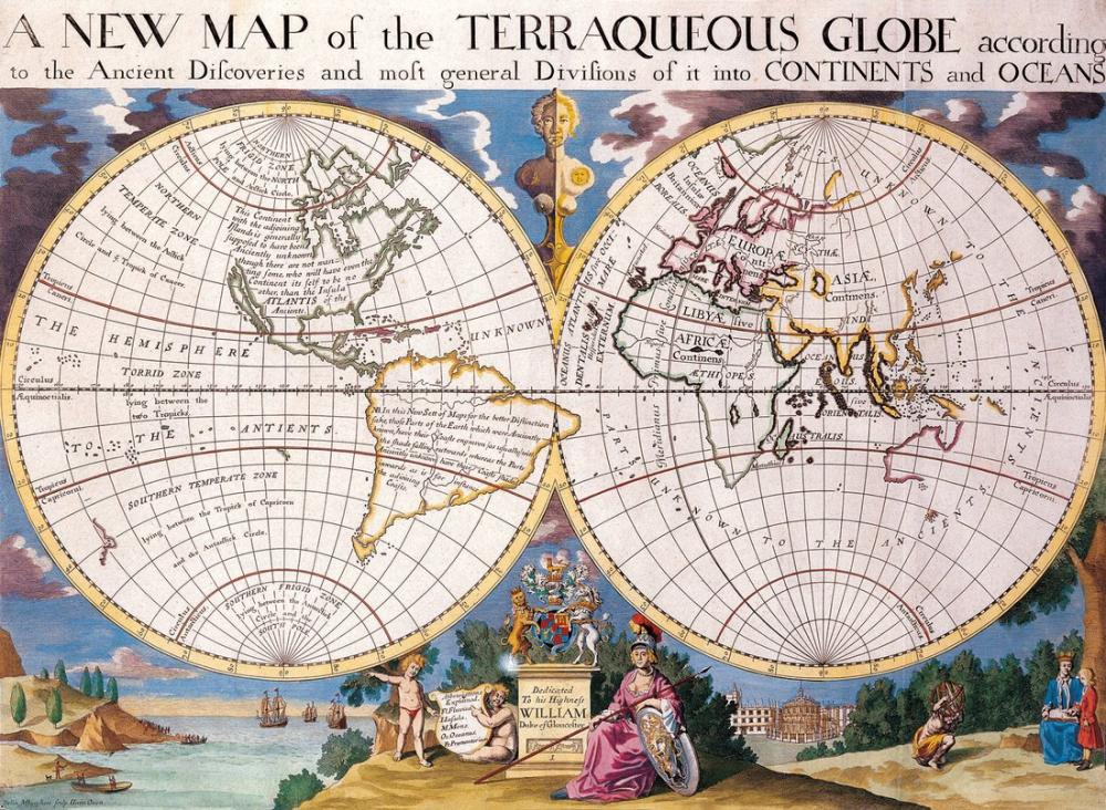 Antique World Map of Continents and Oceans Poster