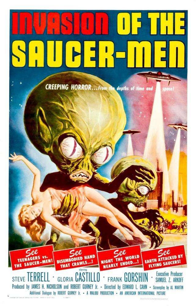 Invasion of the Saucer Men Vintage Horror Scifi Film Posteri, Vintage, Poster Satış, all posters, kanvas tablo, canvas print sales