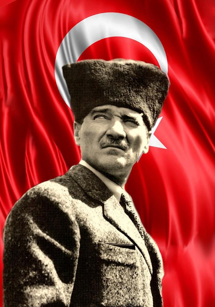 Mustafa Kemal Atatürk, Hearted Portrait with Flag 42, Mustafa Kemal Atatürk, Poster Satış, all posters, kanvas tablo, canvas print sales