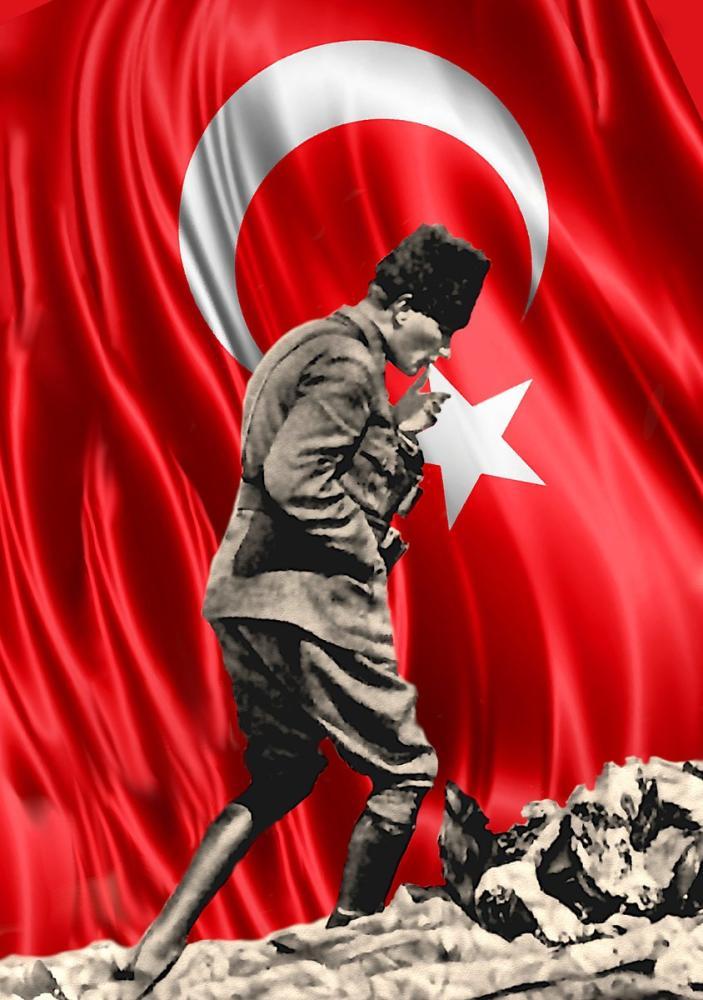 Mustafa Kemal Atatürk, Afyon Kocatepe Flag with Portrait 35, Mustafa Kemal Atatürk, Poster Satış, all posters, kanvas tablo, canvas print sales