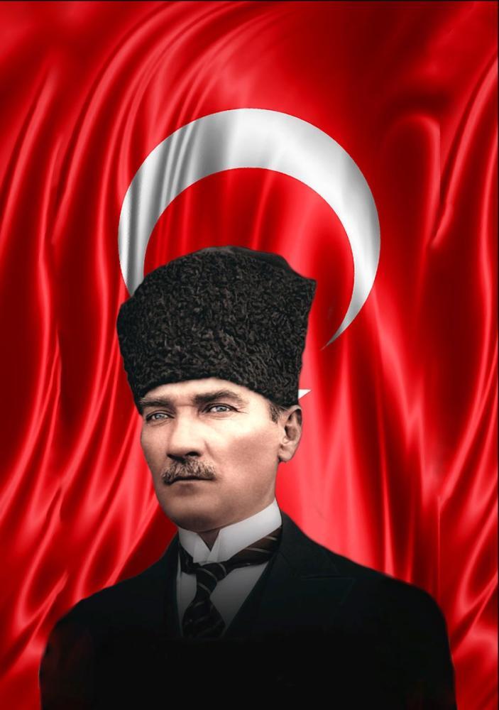 Mustafa Kemal Atatürk, Bayrak ve Kalpakla Portre 48, Mustafa Kemal Atatürk, Poster Satış, all posters, kanvas tablo, canvas print sales