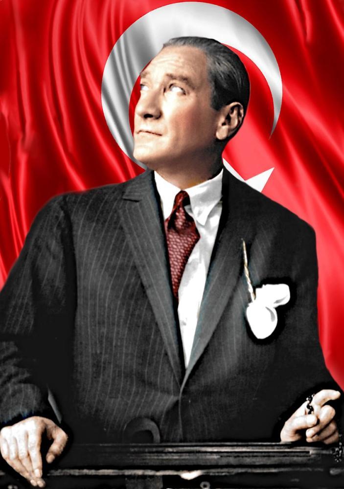 Mustafa Kemal Atatürk Portrait with Flag while Looking at the Sky 42, Mustafa Kemal Atatürk, Poster Satış, all posters, kanvas tablo, canvas print sales