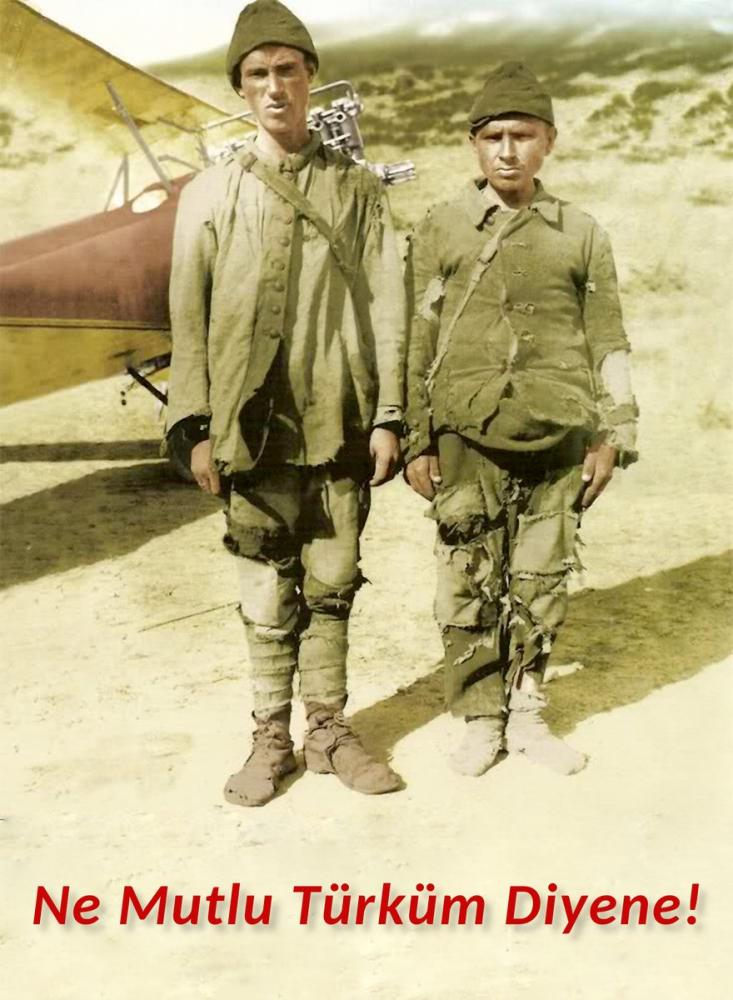 Two Young Soldiers In Front Of Airplane In Canakkale War, Mustafa Kemal Atatürk, Poster Satış, all posters, kanvas tablo, canvas print sales