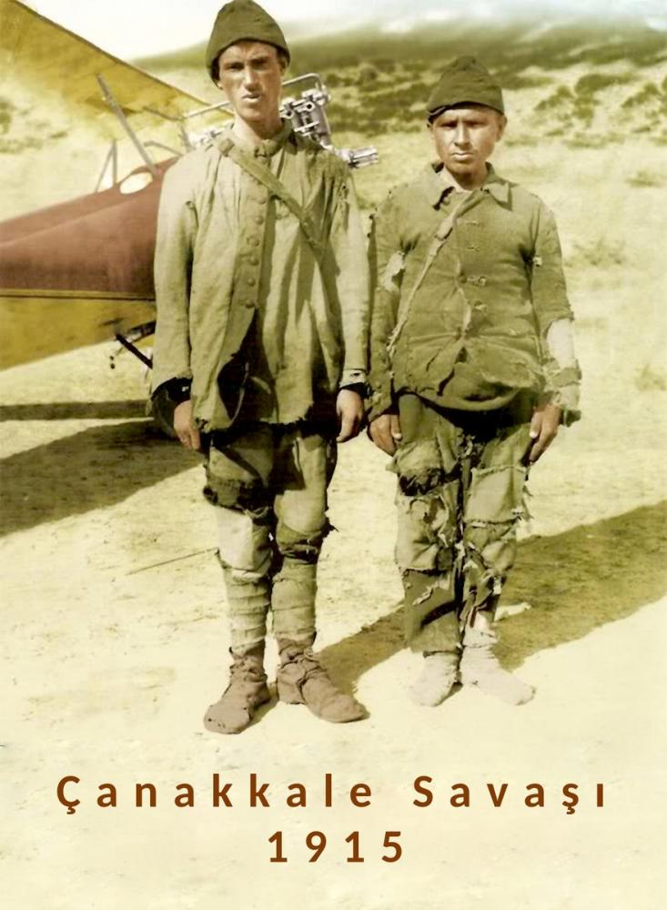 Two Young Soldiers In Front Of Airplane In Worn Outfits In Canakkale War, Mustafa Kemal Atatürk, Poster Satış, all posters, kanvas tablo, canvas print sales