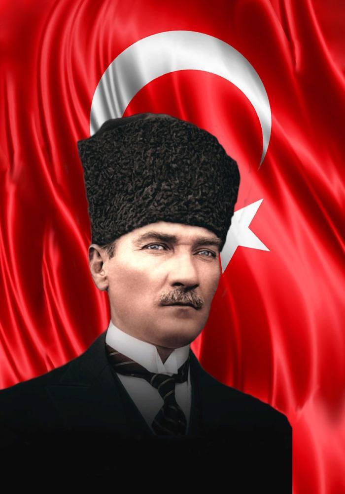 Mustafa Kemal Atatürk, Bayrakla ve Kalpakla Portesi 45, Mustafa Kemal Atatürk, Poster Satış, all posters, kanvas tablo, canvas print sales