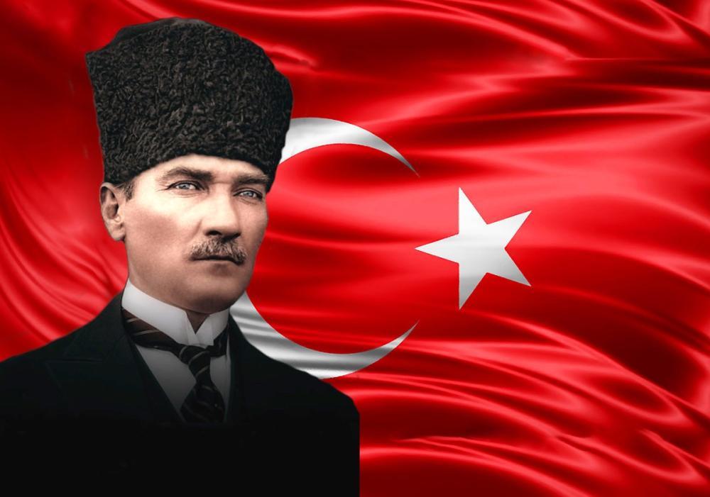 Mustafa Kemal Atatürk, Arka Planda Bayrakla Portresi 37, Mustafa Kemal Atatürk, Poster Satış, all posters, kanvas tablo, canvas print sales