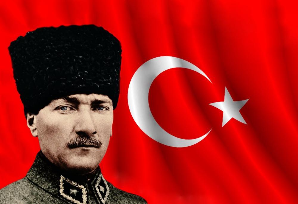 Mustafa Kemal Atatürk, Portrait with Hearts 43, Mustafa Kemal Atatürk, Poster Satış, all posters, kanvas tablo, canvas print sales