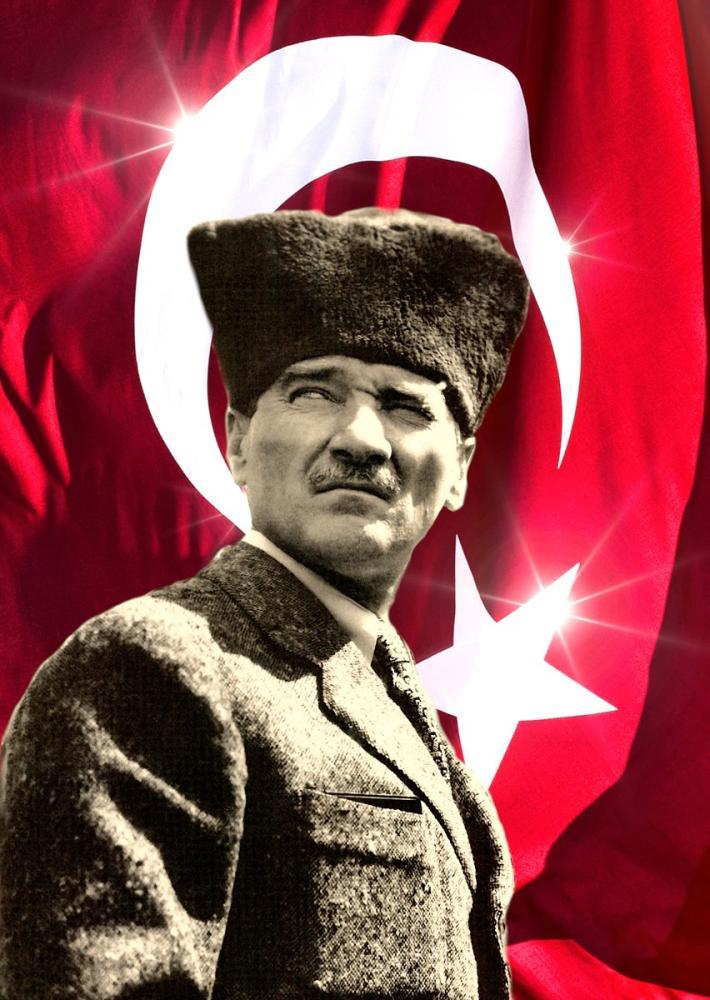 Mustafa Kemal Atatürk, Kalpaklı Bayraklı Portre 33, Mustafa Kemal Atatürk, Poster Satış, all posters, kanvas tablo, canvas print sales