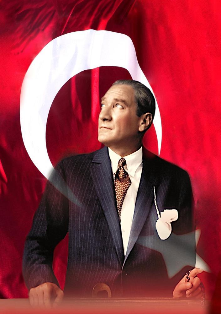 Mustafa Kemal Atatürk, Portrait with Flag 27, Mustafa Kemal Atatürk, Poster Satış, all posters, kanvas tablo, canvas print sales