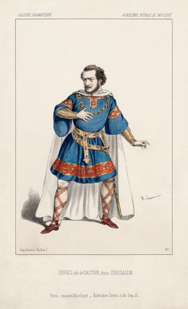 Gilbert Duprez as Gaston in Verdi s Jérusalem Poster, Opera, Theater, Poster Satış, all posters, kanvas tablo, canvas print sales