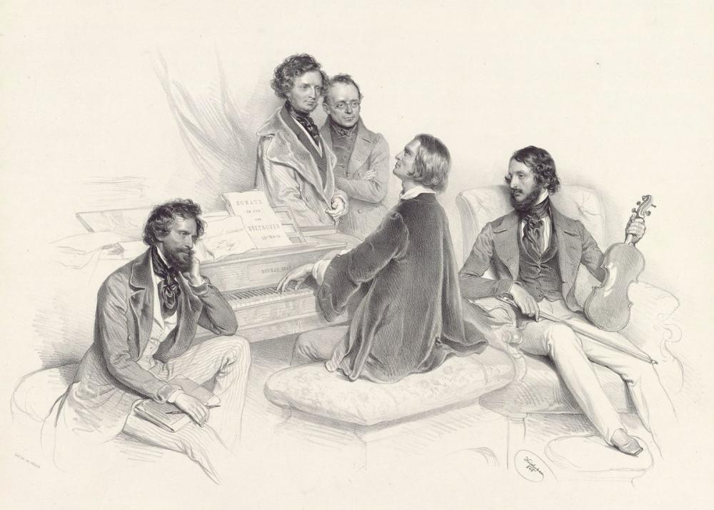 Joseph Kriehuber, Ein Matinée bei Liszt, 1846 Posteri, Opera, Tiyatro, Poster Satış, all posters, kanvas tablo, canvas print sales