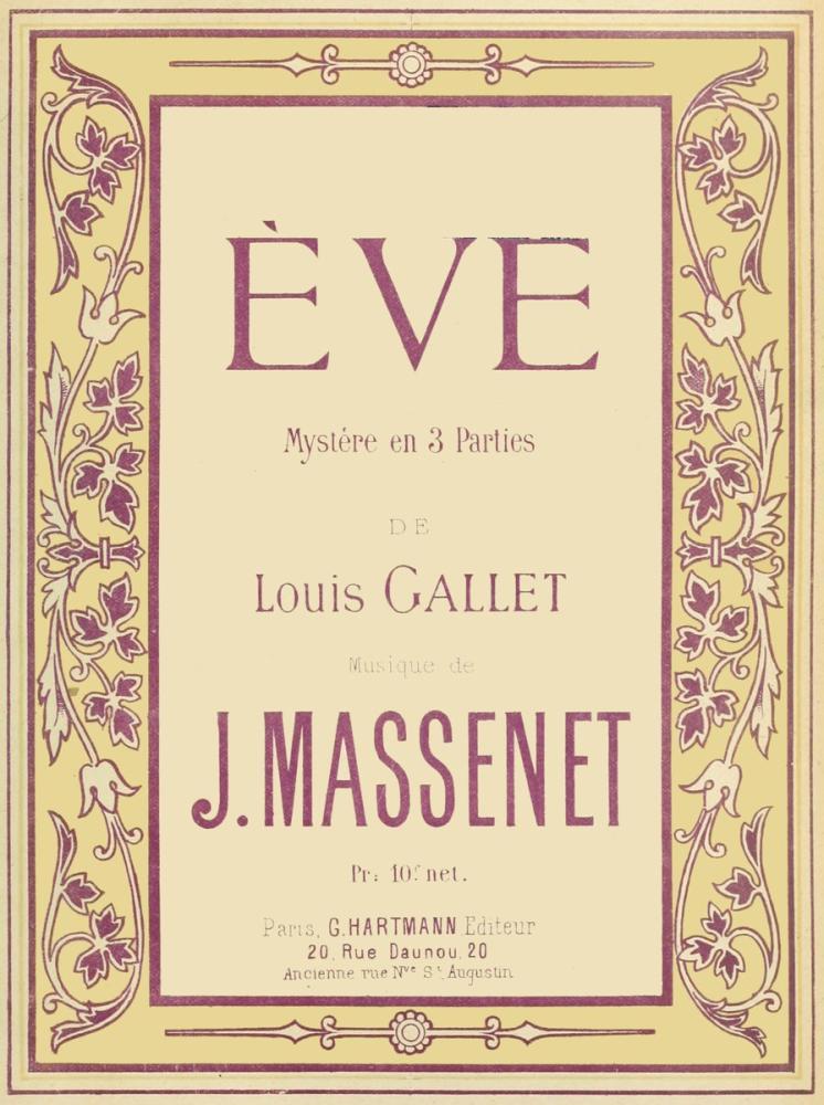 Massenet, Ève Oratoryo Posteri, Opera, Tiyatro, Poster Satış, all posters, kanvas tablo, canvas print sales