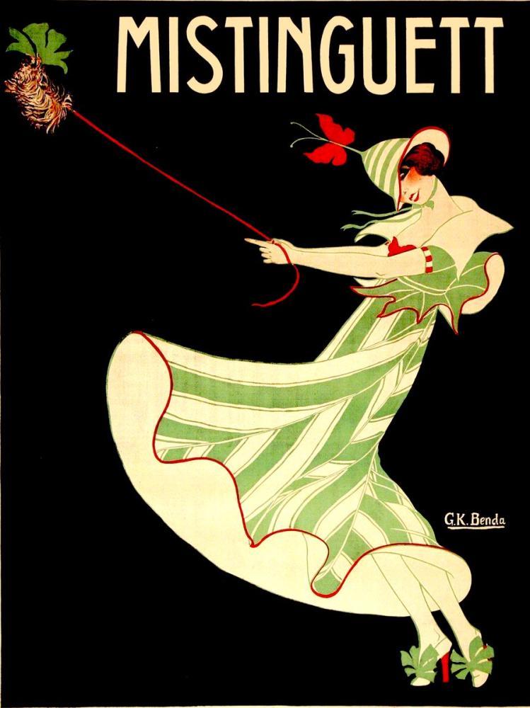 Mistinguett Green Stripe 1 Posteri, Opera, Tiyatro, Poster Satış, all posters, kanvas tablo, canvas print sales