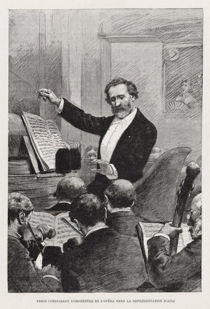 Verdi Conducting Aida in Paris 1880 Opera Posteri, Opera, Tiyatro, Poster Satış, all posters, kanvas tablo, canvas print sales