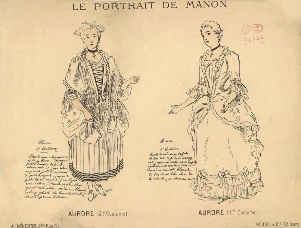 Costumes for Aurore in Jules Massenet's Le portrait de Manon Opera Poster, Opera, Theater, Poster Satış, all posters