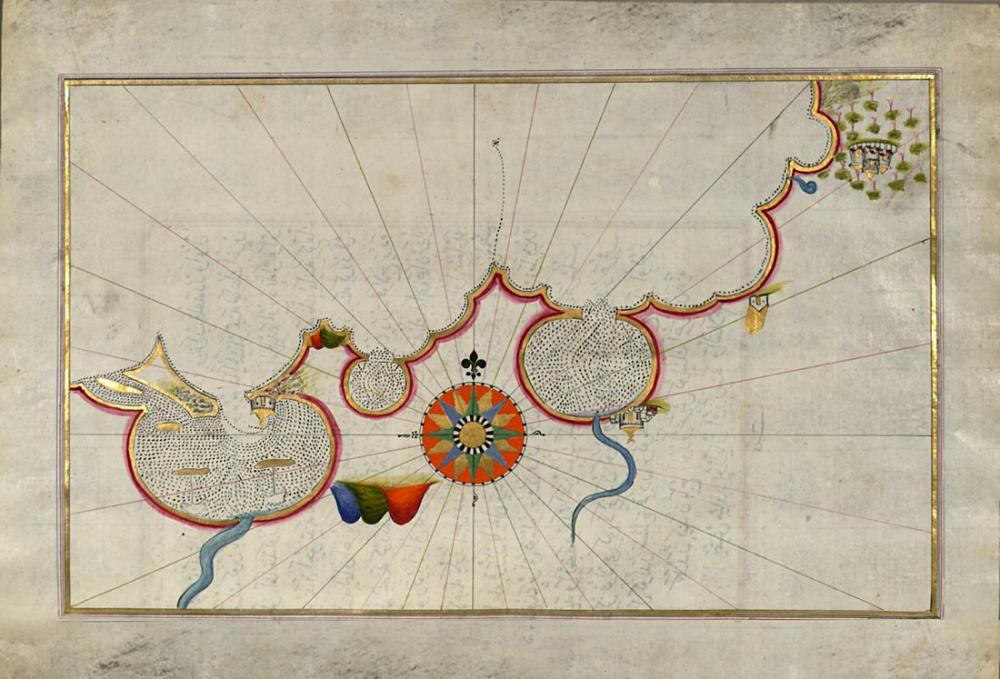 Piri Reis Egyptian Coastline Map Poster, Piri Reis, Poster Satış, all posters, kanvas tablo, canvas print sales