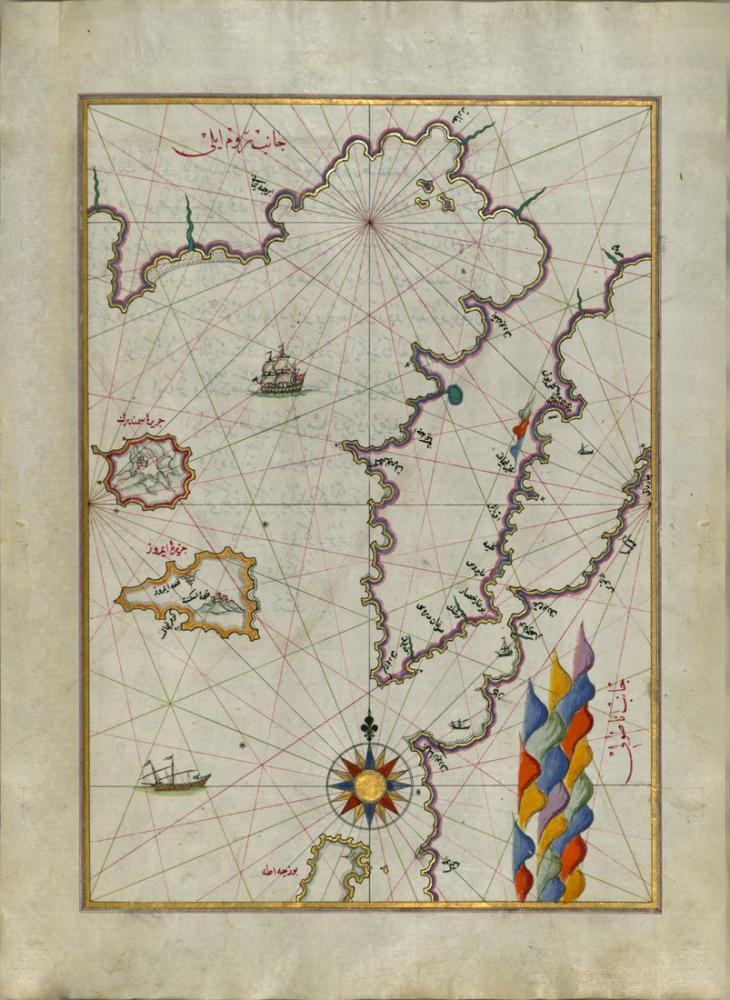Piri Reis Ege Denizi ndeki Semendrek ve İmroz Adası Haritası Poster, Piri Reis, Poster Satış, all posters, kanvas tablo, canvas print sales