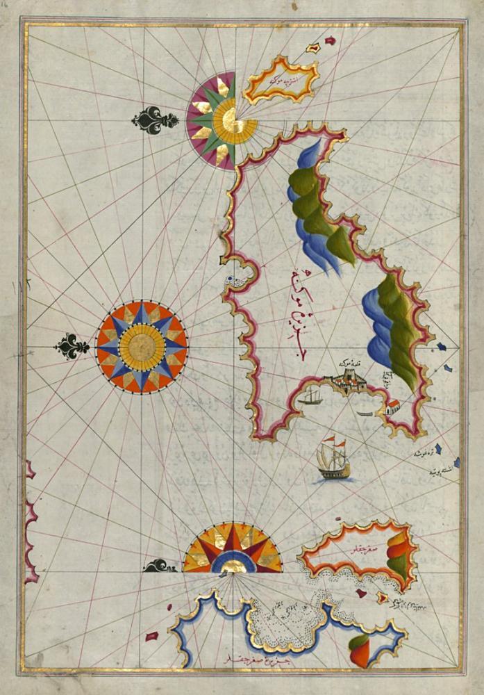 Piri Reis Map of Mykonos Island in the Aegean Sea Poster, Piri Reis, Poster Satış, all posters, kanvas tablo, canvas print sales
