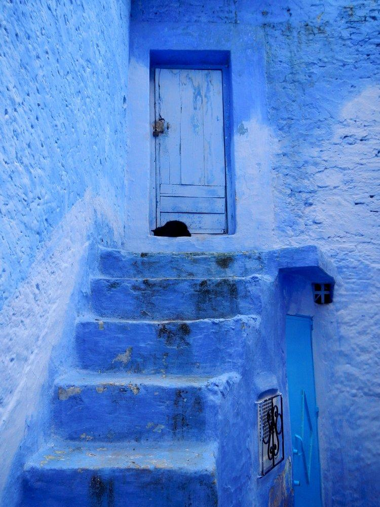Morocco a Blue Stairs Poster 2, Landscape, Poster Satış, all posters, kanvas tablo, canvas print sales
