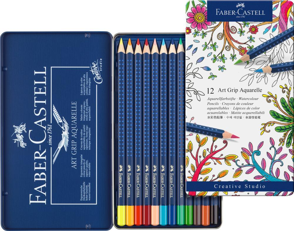 Faber Castell Watercolour pencil ART GRIP AQUARELLE tin of 12, Paint Pencils, Marka: Faber Castell, kanvas tablo, canvas print sales