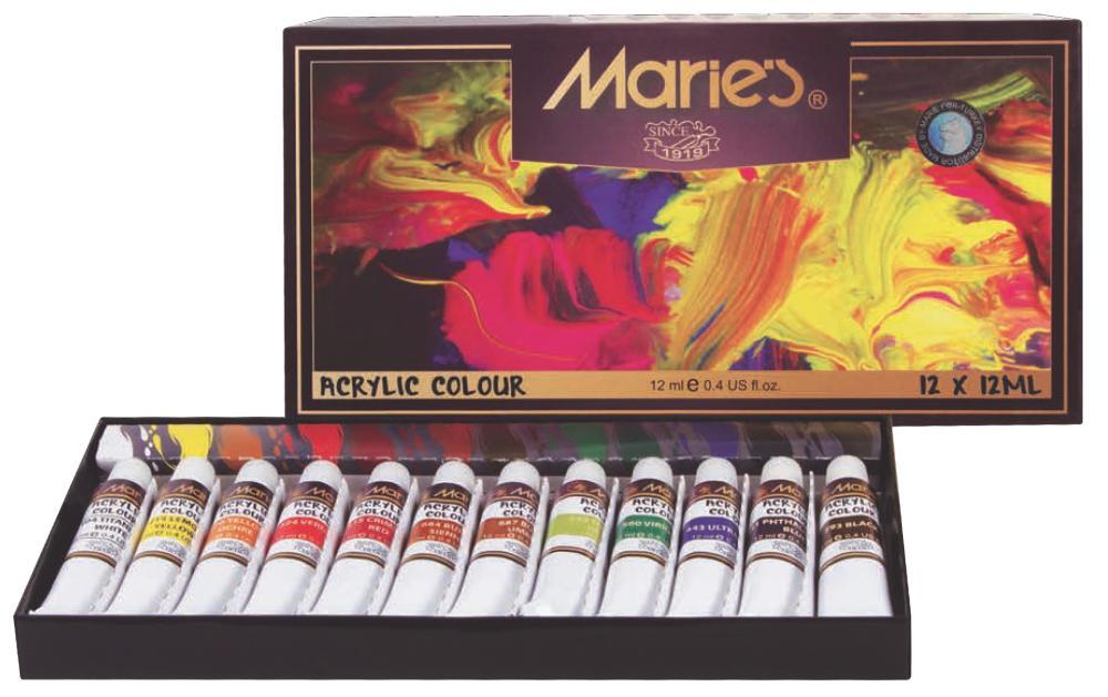 Maries Akrilik Boya 12 li, Akrilik Boya, Marka: Marie s, kanvas tablo, canvas print sales