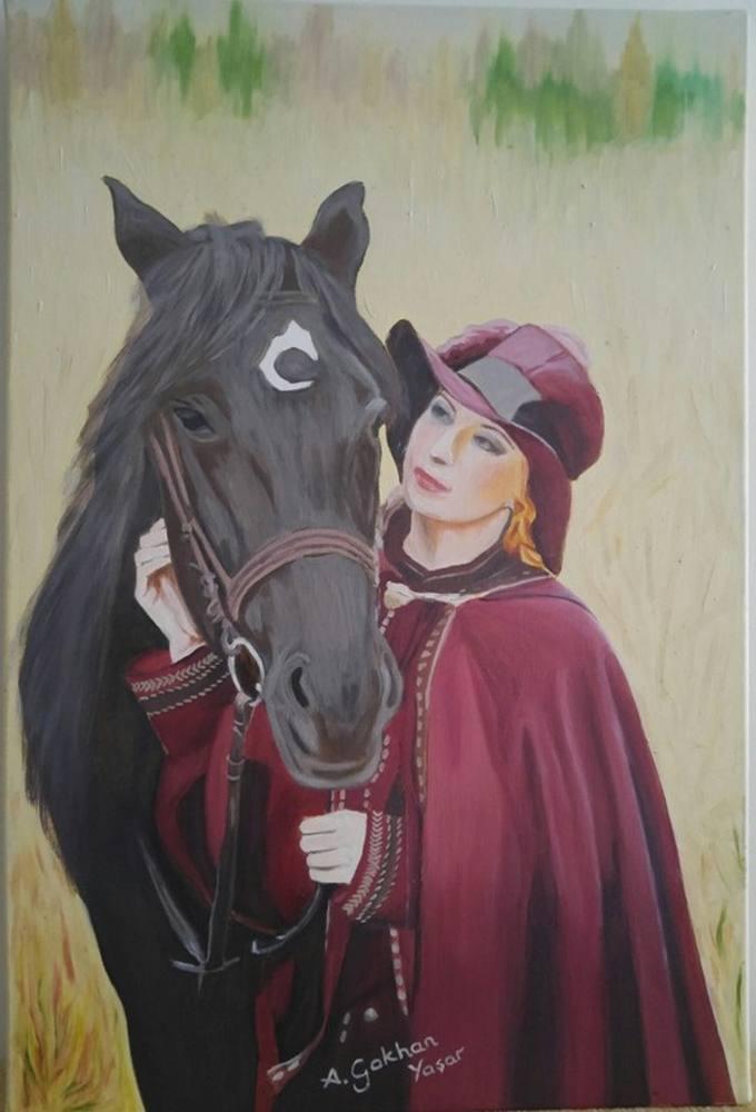At ve Kadın, Orijinal Tablo, Gökhan Yaşar