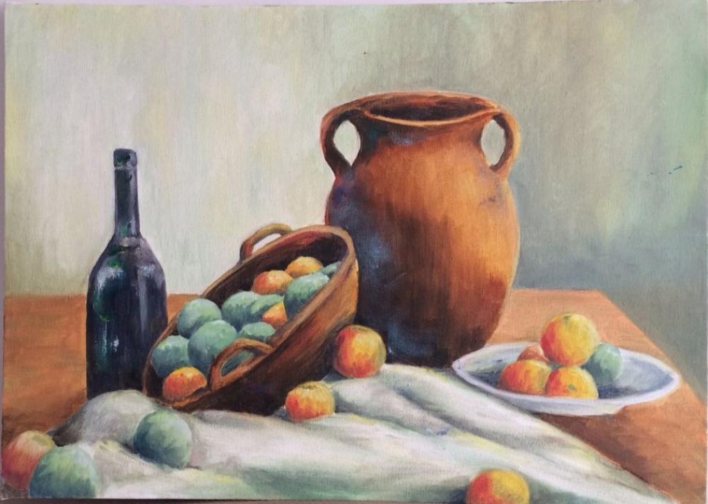 Fruit Basket, Original Paintings, , kanvas tablo, canvas print sales