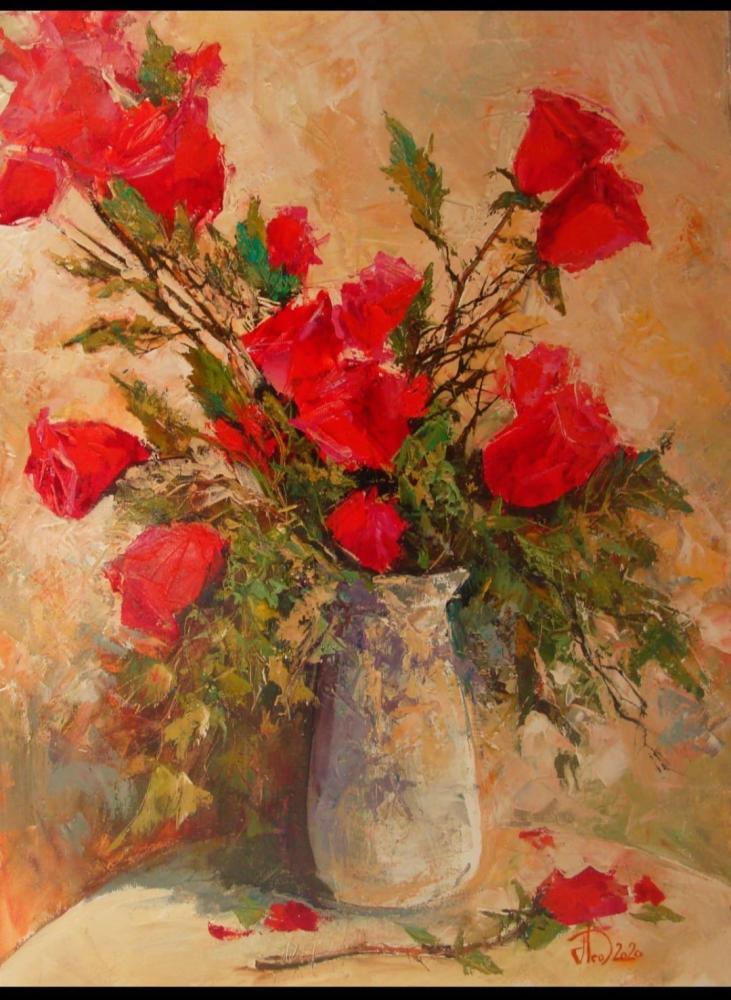Roses in white Vase, Original Paintings, , kanvas tablo, canvas print sales