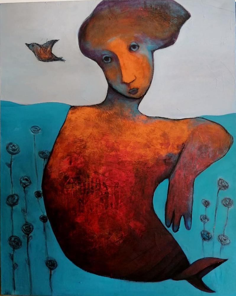 A mermaid, Original Paintings, , kanvas tablo, canvas print sales