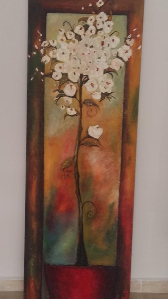 Relief White Flower, Original Paintings, , ACAKIN01