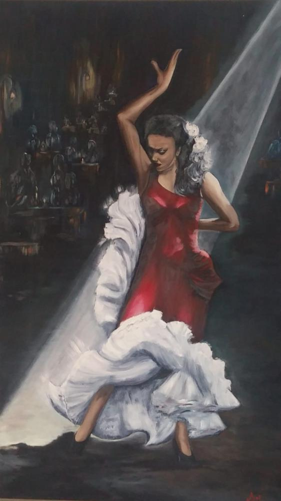 Flamenco Dancer in Red Dress, Original Paintings, , ACAKIN03